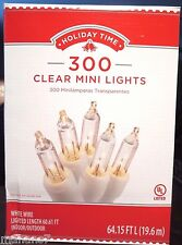 Holiday Time 300 Clear Mini Lights, White Wire Lighted Length 60.61 ft
