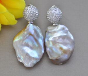 27mm Lavender Baroque Coin Pearl Dangle Earring CZ  z10207