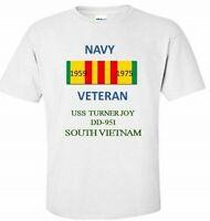 USS TURNER JOY  DD-951 *SOUTH VIETNAM* VIETNAM VETERAN RIBBON 1959-1975 SHIRT