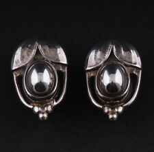 GEORG JENSEN Sterling Silver Ear Clips Of The Year 2003 with Silverstone. RARE!