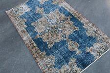 Vintage Turkish Oushak Rug ,Blue Color Rug,Faded Oushak Rug,Distressed Rug