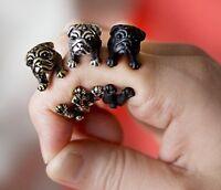 MOPS PUG Ring Anthrazit schwarz Farbe gun black color sehr schön-NEU-mit Box