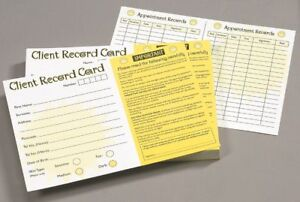 Pack of Client customer record Cards for Sunbed Tanning Salons gyms 18+