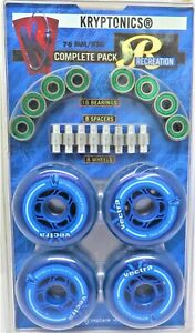 KRYPTONICS INLINE SKATE WHEELS VECTRA 76MM 82A COMPLETE 8 PACK WITH BEARINGSS