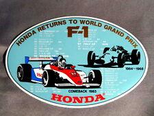 Grand retour Autocollant F-1 1983 HONDA Returns to World Grand Prix Formule 1