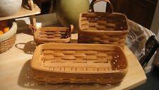 Lot of 3Longaberger Baskets Leather Handles Hanging Basket 1990s
