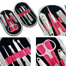 7 in 1 Nail Care Clipper Manicure Pedicure Set Kit Stainless Steel Leather Case