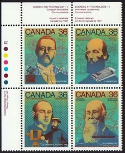 HISTORY = SCIENCE & TECHNOLOGY-2 = Canada 1987 #1138a MNH UL Block of 4
