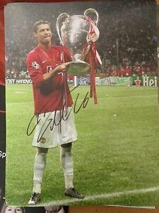 CRISTIANO RONALDO SUPERB SIGNED 16x12 Manchester United Photograph COA £99