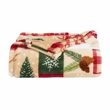 Holiday Pinecone Tree Green Red Throw Blanket NEW 60 x 72 the Big One SOFT