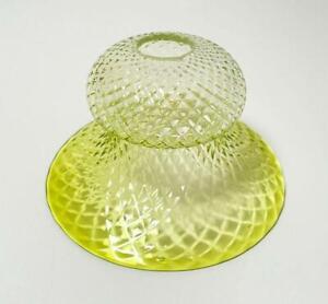 VINTAGE URANIUM GLASS LAMP SHADE CITRINE GREEN DIAMOND OPTIC