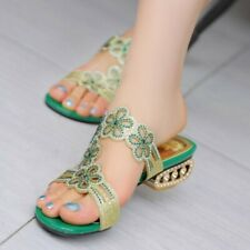Womens Rhinestone Low Heel Summer  Peep Toe Beach Sandals Slipper Backless 34-43