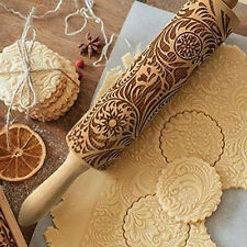 Kitchen 3D Wooden Flower Rolling Pin Embossing Baking Cookies Biscuit Fondant HA