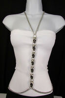Women Silver Metal Skulls Body Chain Long Necklace Skeleton Fashion Jewelry USA