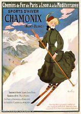 Sports d-Hiver Mont-Blanc Chamonix Paris France French European Travel Poster