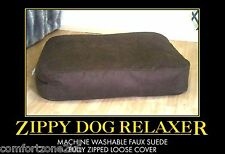 FAUX SUEDE BEANBAG DOG BED BEAN BAG SOFA MATTRESS LARGE MACHINE WASHABLE ZIPPED