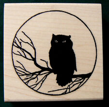 "P1 Owl and Moon rubber stamp-retro art 2.25x2.25"" WM"