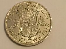 1939 HALF CROWN - KING GEORGE VI - SILVER 50% FANTASTIC CONDITION