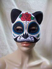 Sugar Skull Cat Costume Mask Mexican Day of Dead Masquerade Dia De Los Muertos