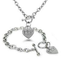 Stainless Steel Faith Hope Love Lifeline Heart Charm Bracelet, Necklace, Set