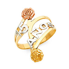 15 Anos Quinceañera Birthday Flower Ring Band Girl 14k Yellow Tri Tone Real Gold