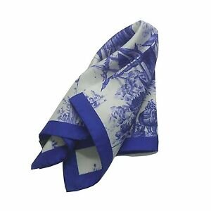 NEW $215 Kiton Silk Pocket Square in Navy Blue and White with Sailing Warships