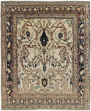 19th Century T a b r i z Cream, Brown, Gray and Black Rug BB6898