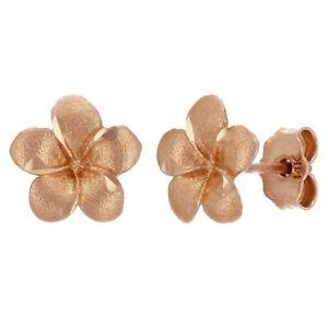 14k Rose Gold Hawaiian Plumeria Flower Earrings Small or Medium Size