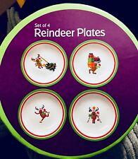 Christmas Plates Reindeer 6in Dessert Plates Set of 4 Promotional Alliance