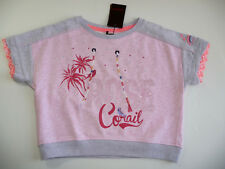 CATIMINI PULL SWEAT ROSE MANCHES 3/4 8 ANS NEUF