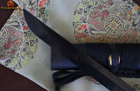 HANDMADE JAPANESE SAMURAI NINJA SWORD BLACK DAMASCUS FOLDED STEEL SHARP BLADE