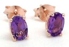 Amethyst Rose Gold Overlay Stud Earrings, Solid sterling silver, New. UK Only.