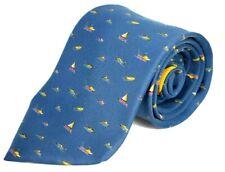 """Salvatore Ferragamo Italy 100% Silk Tie (Sailboats-Boats) 3 1/4"""" Wide"""