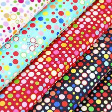 100% Cotton Fabric FQ Disco Light Funky Retro Polka Dot Circle Spot Printed VS51