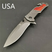 "8"" Knives 57HR Pocket Knife Folding Knives 5CR15MOV Steel Tactical EDC Tool Wood"