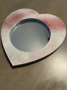 Heart Mirror Small Wooden Silver w Red Glitter