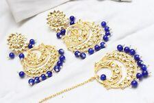 Indian Bollywood Partywear Pearl Kundan Blue Maang Tikka Earrings Fashion Jewelr