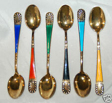 Lot of 6 - Estate Tostrup Norway Sterling Silver Spoons with Enamel & Gold Wash