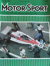 MOTOR SPORT OCT 1976 MONZA LANCIA BETA KEN TYRRELL JOHN WATSON FRONT COVER