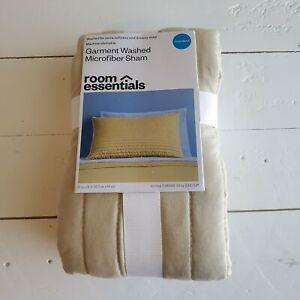 Room Essentials Pillow Sham Standard Beige Microfiber Garment Washed 20x26 New