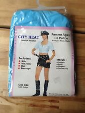 PVC Womens Police Officer Cop Uniform Sexy Fancy Dress Costume Outfit NEW'