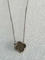 """Tiny Simple Sterling Silver Flower Necklace 925 18"""" long"""