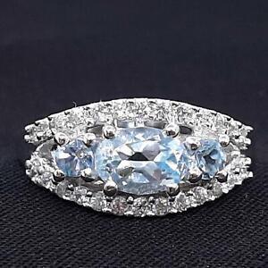World Class 1.20ct Swiss Topaz & Diamond Cut White Sapphire 925 Silver Ring SZ 8