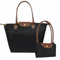 Ladies  faux leather trim Foldable Nylon Tote Handbag Shopper  Summer Beach Bag
