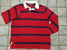 NEW! Men's $98 Polo RALPH LAUREN Red White Blue L/S Striped Rugby Shirt XXL NWT