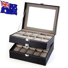 Black Leather 20 Grid Mens Display Watch Case Glass Top Jewerly Box Organizer
