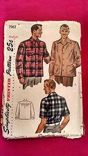 Simplicity Pattern 1961 Mens Classic Retro Shirt Short/Long Sleeve Sz M Vtg 1940