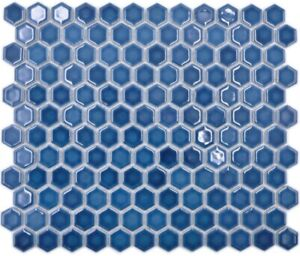 Ceramic Mosaic Hexagon Blue Green Shiny Mosaic Tiles Wall Mirror Tiles