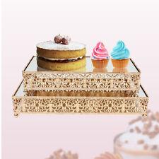 Gold 2-piece set cake stands beautiful 4 metal ball legs Wedding Pastry Platter