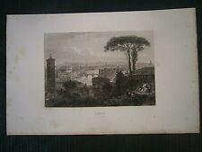 Gravures noir et blanc  19° Italie : Rome vue générale